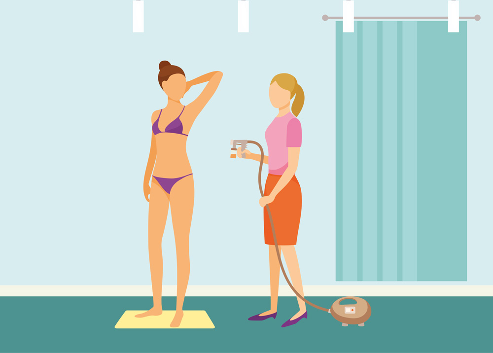 Graphic fo woman getting a spray tan